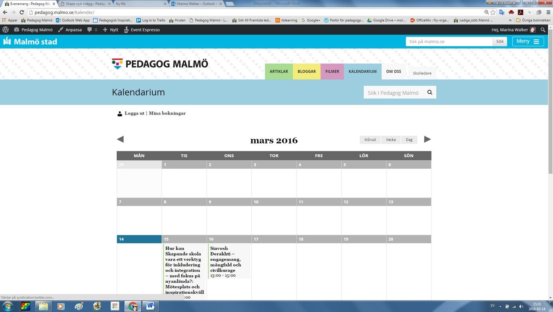 Skärmdump från Pedagog Malmös kalender.