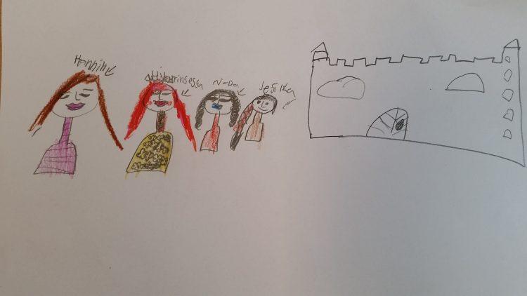Teckning av slott och fyra personer.