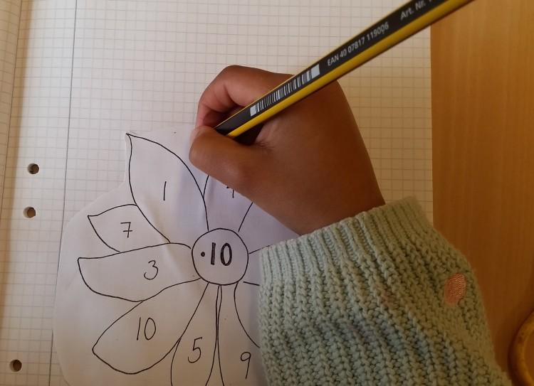 Elev tecknar blomma.