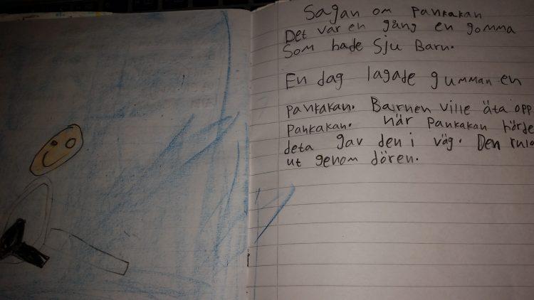 Text och teckning i häfte.