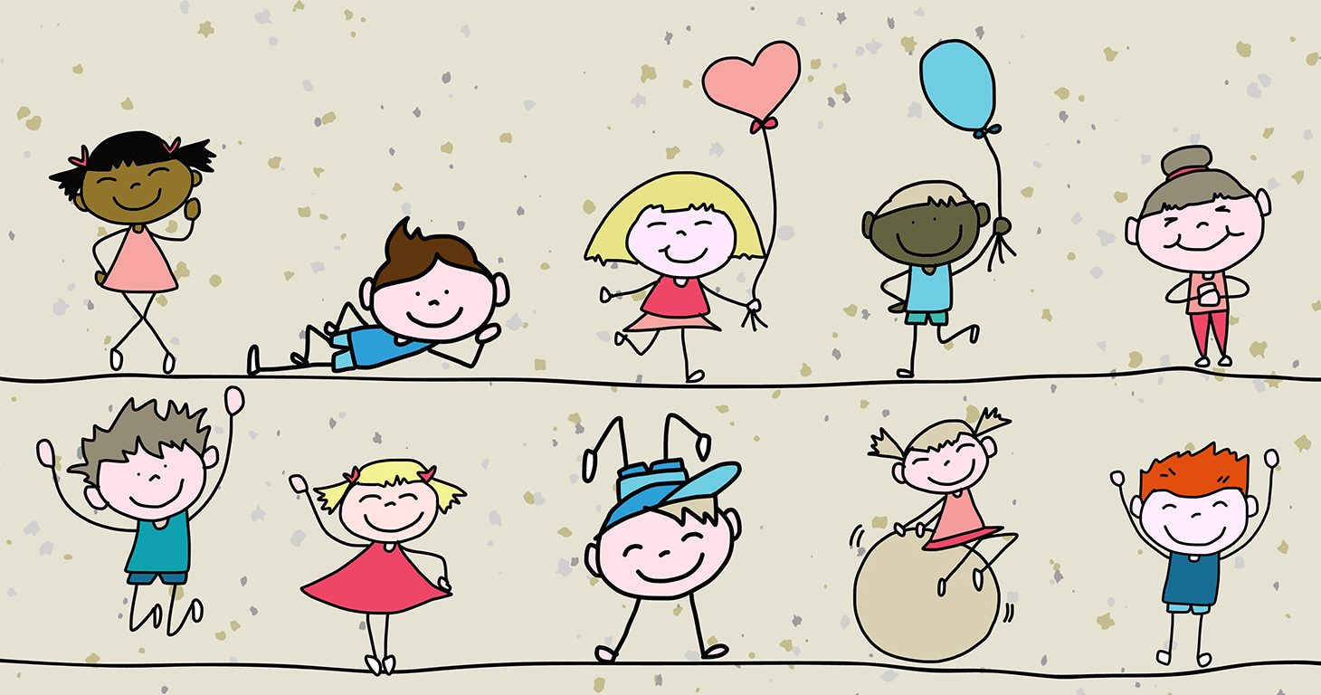 Tecknade glada barn.