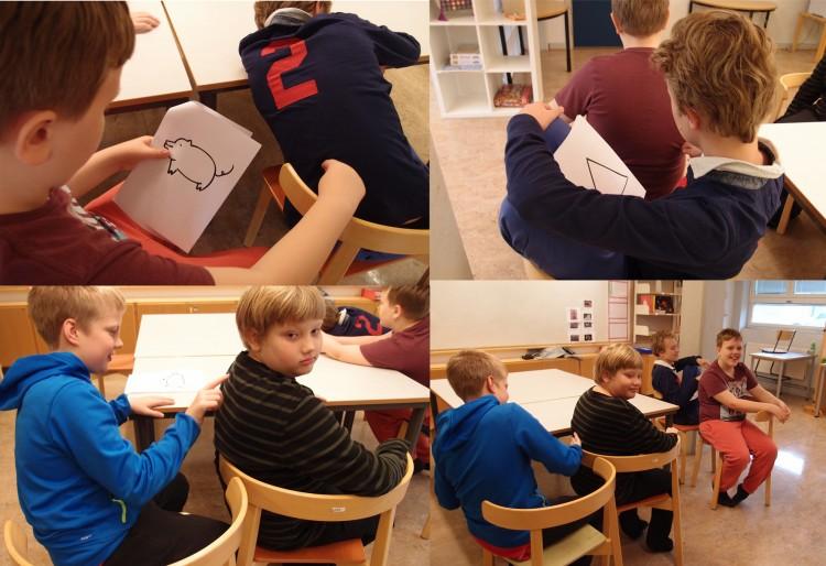 Elever sitter i bänkarna med ryggen mot varandra.
