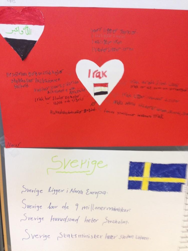 Bildplansch om Sverige och irak.