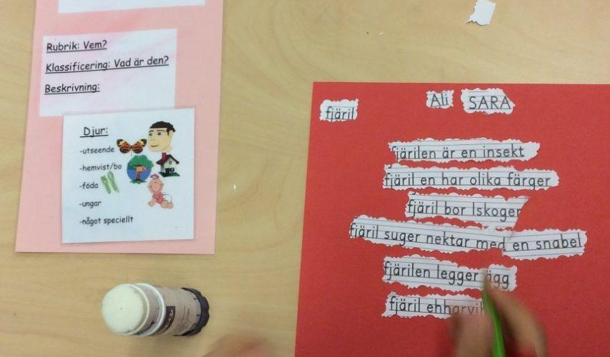 Arbetet pågår med den beskrivande rapporten. Bredvid ligger den färgkodade affischen som stöttning.