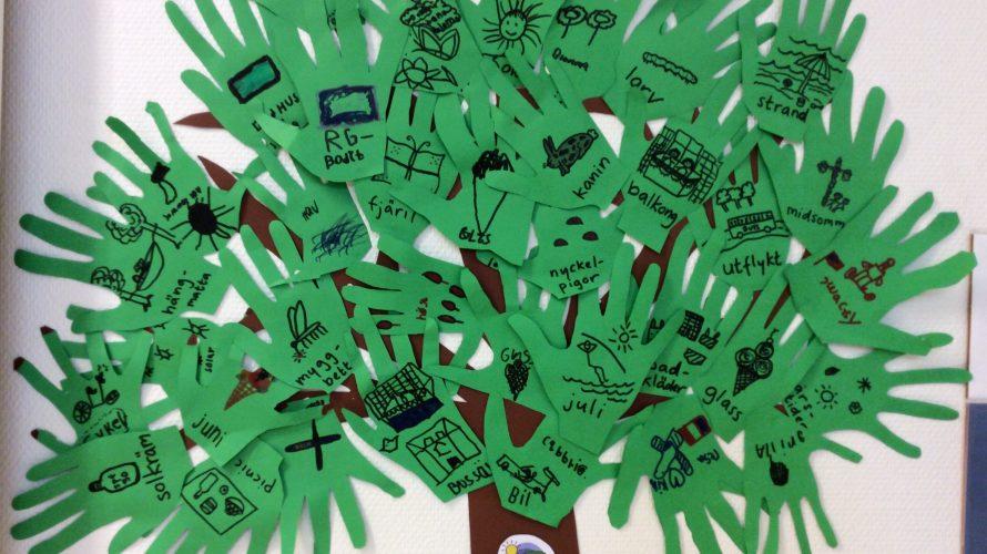 Handavtryck bildar träd.