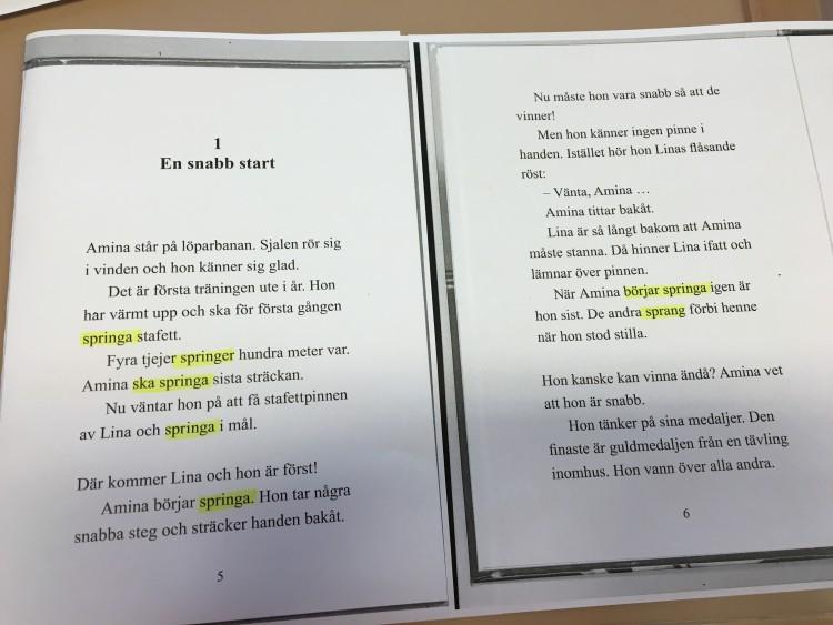 s. 5-6 Kom igen, Amina! av Annelie Drewsen. Nypon förlag.