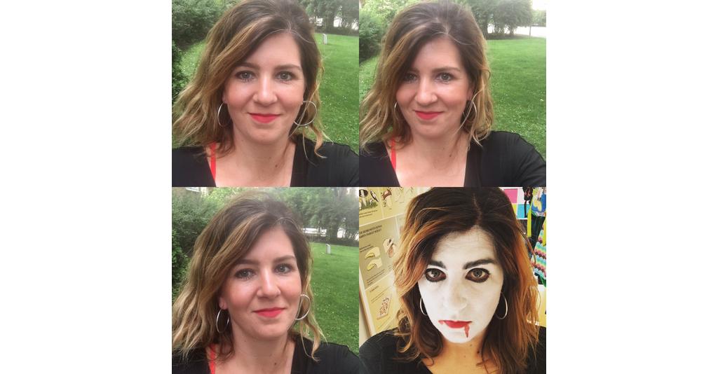 Fyra bilder i kollage med Katarina Svenning. På den fjärde bilden är hon sminkad som ett spöke.