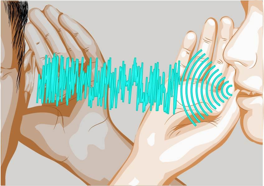 Ljudvågor går från mun till hörande öra.