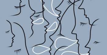 Illustration där ansikten talar med varandra.