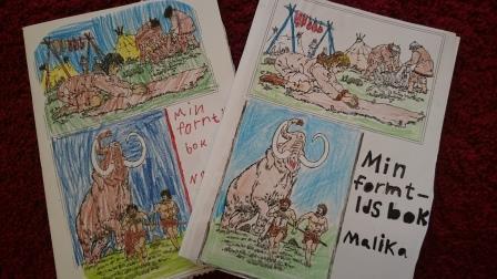 Färglagda teckningar av mammutar.