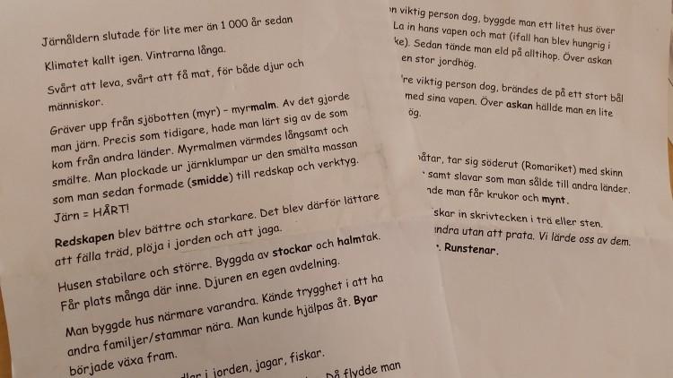 Text skriven på dator om järnåldern.
