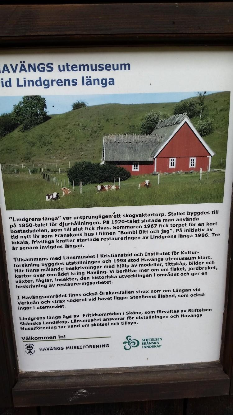 Informationsskylt från Havängs utemuseum.