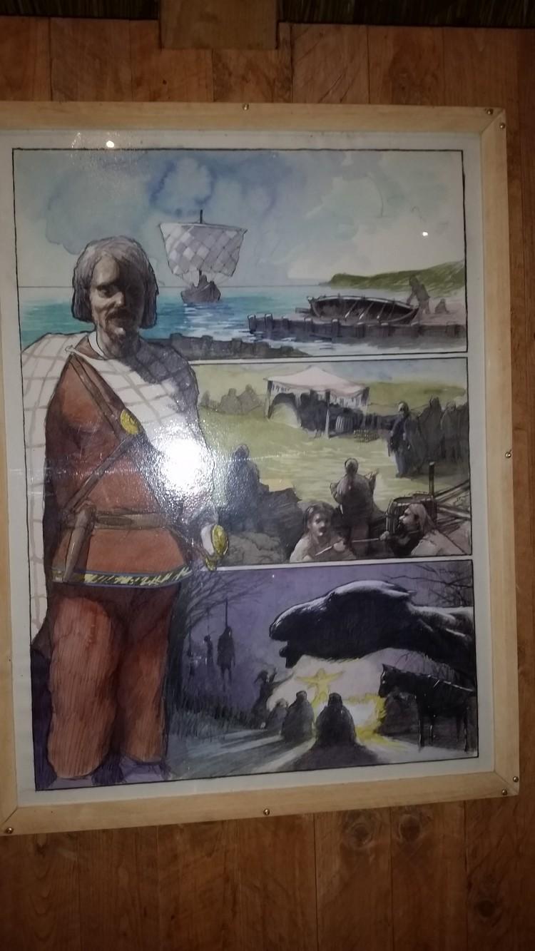 Tecknad tavla av vikingar.