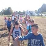 Elever på väg ut i majsfältet.