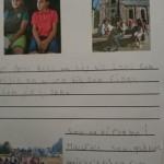 Bilder och texter på papper.