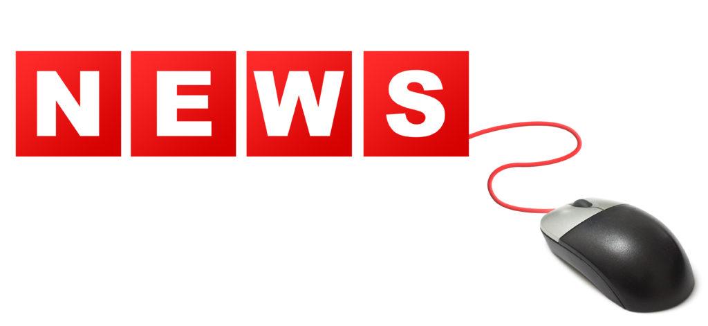 Ordet news står i röda kvadrater kopplade till datormus.