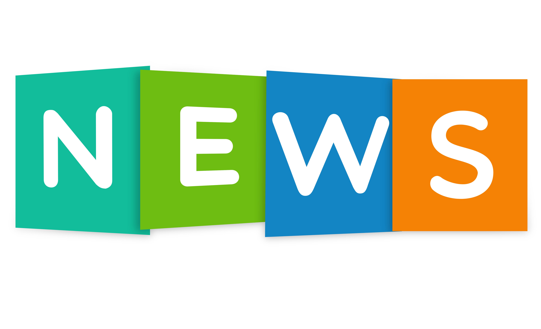 Ordet news står i färgglada block.