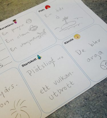 Tabell på papper med olika delar av berättelse.