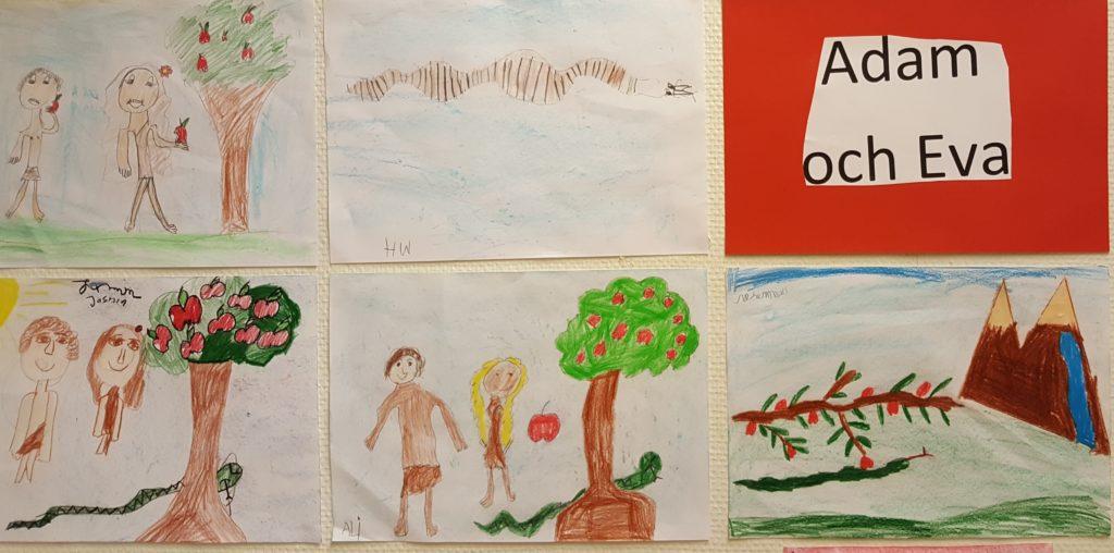 Teckningar av Adam och Eva uppsatta på vägg.