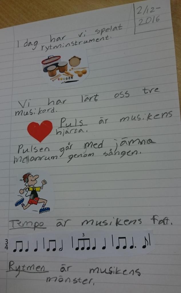 Handskriven text på papper.