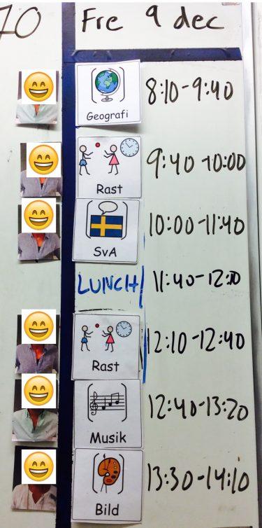 Bildstöd visar dagens schema.