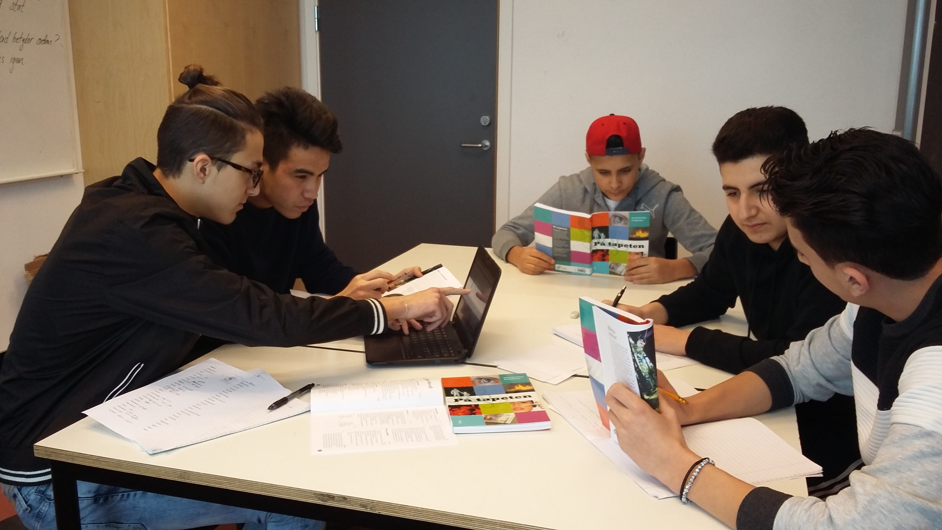 Fem elever jobbar vid dator.