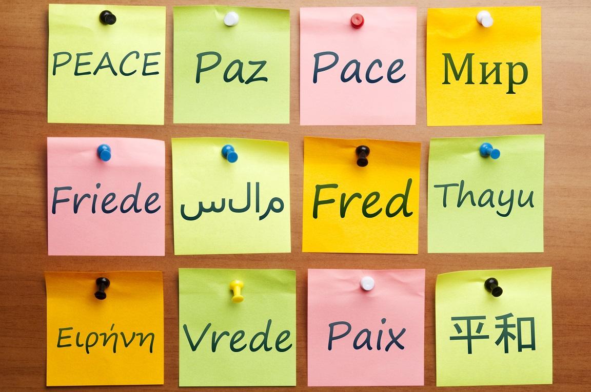 Fred står på olika språk på post itlappar.