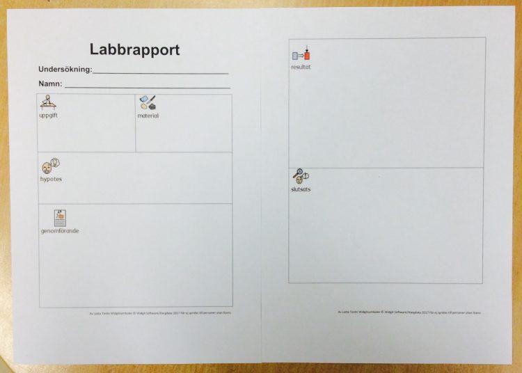 Tabell och stödmaterial för hur man skriver labbrapport.