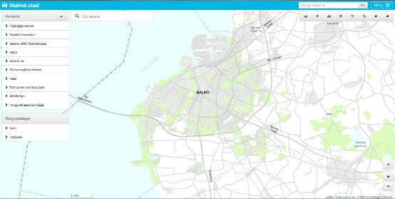 Kartbild över Malmö från dator.