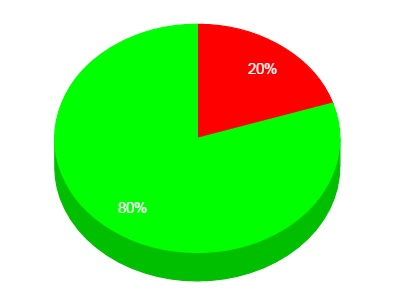 Cirkeldiagram uppdelat i 80 och 20 procent.