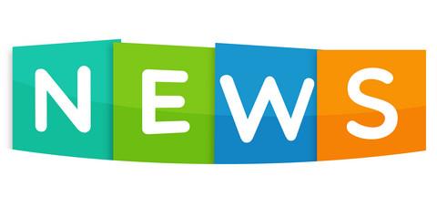 Ordet news står på färgglada block.