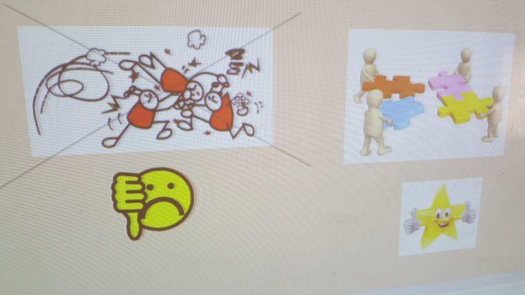 Bilder på datorns skärm som symboliserar samarbete.