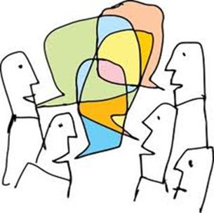 Tecknade gubbar pratar med pratbubblor.