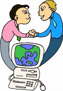 Tecknad kvinna och man skakar hand med en dator mellan sig.