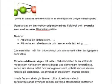 Arbetsuppgiften skrivs i ett drivedokument på svenska...