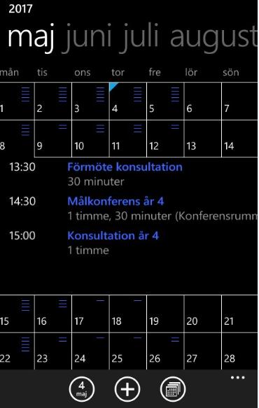 Skärmbild av kalender.