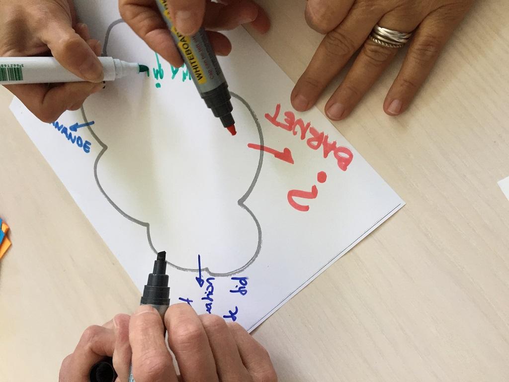 Händer skriver på gemensamt papper.