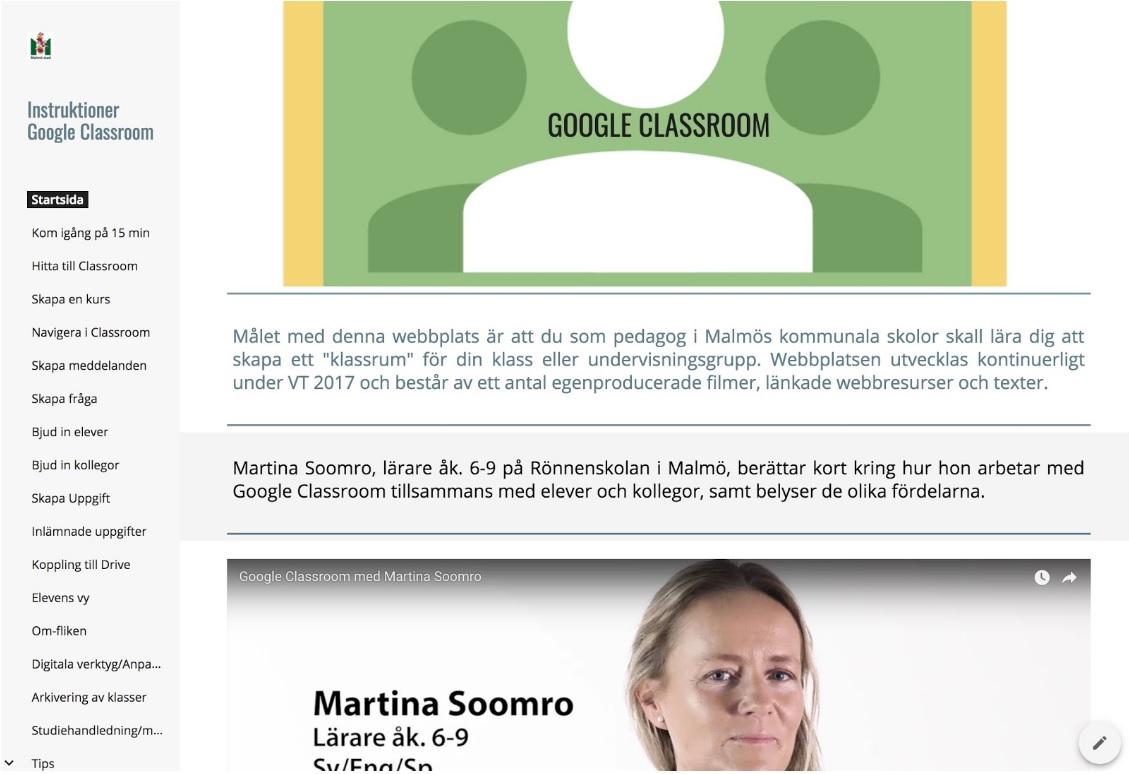 Skärmbild av google classrrom.
