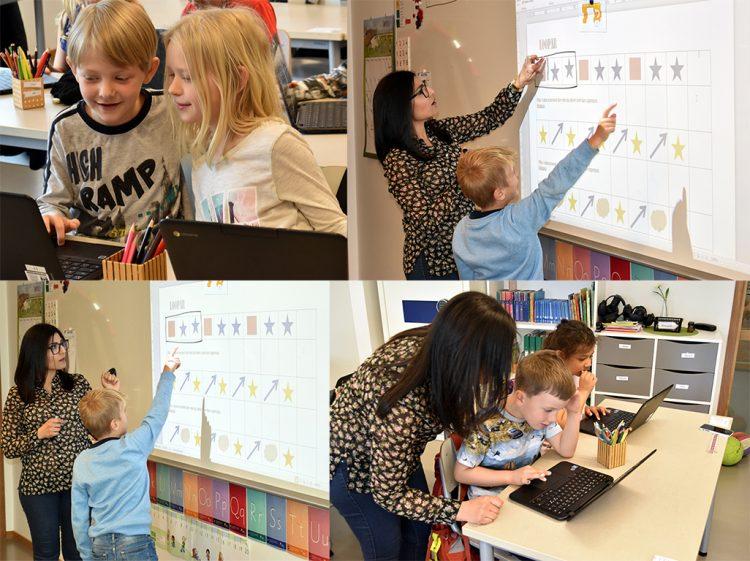 Eleve roch Ansam programmerar tillsammans på dator och på skärm.