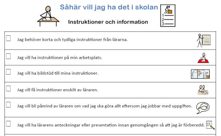 Exempel ur Så här vill jag ha det i skolan gällande instruktion och information.