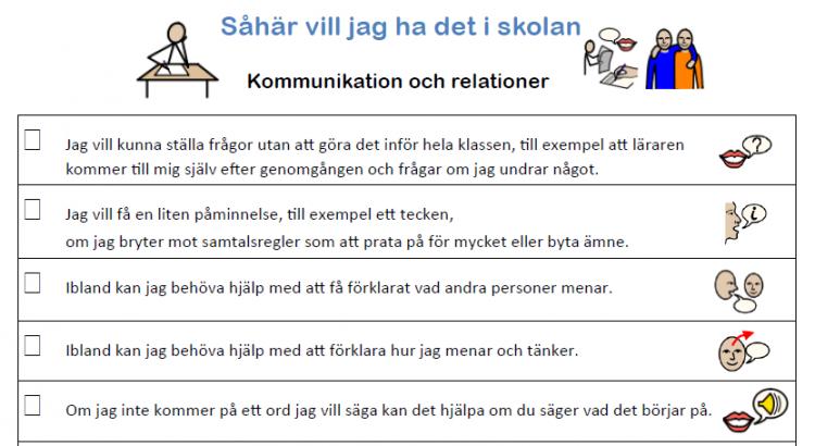 Exempel ur Så här vill jag ha det i skolan gällande kommunikation och relationer..