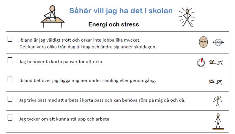 Exempel ur Så här vill jag ha det i skolan gällande energi och stress.