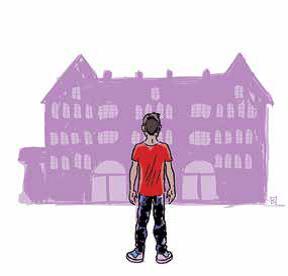Tecknad pojke framför slott.