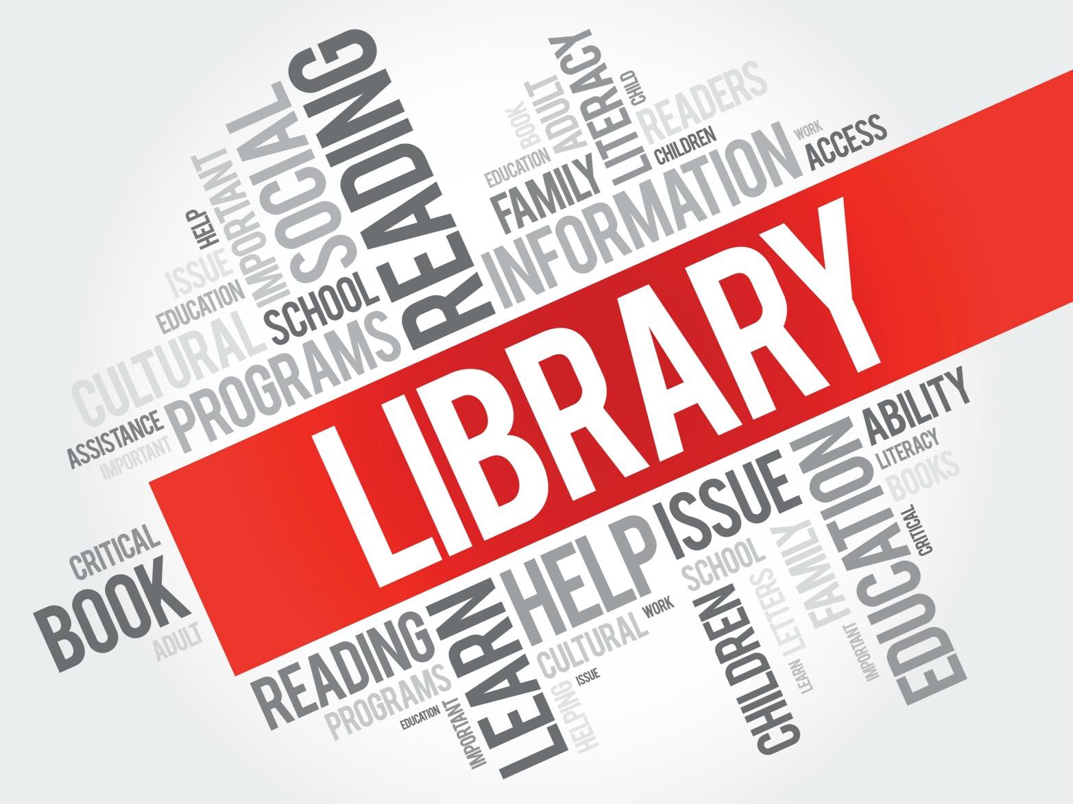 Ordmoln med bibliotek markerat.