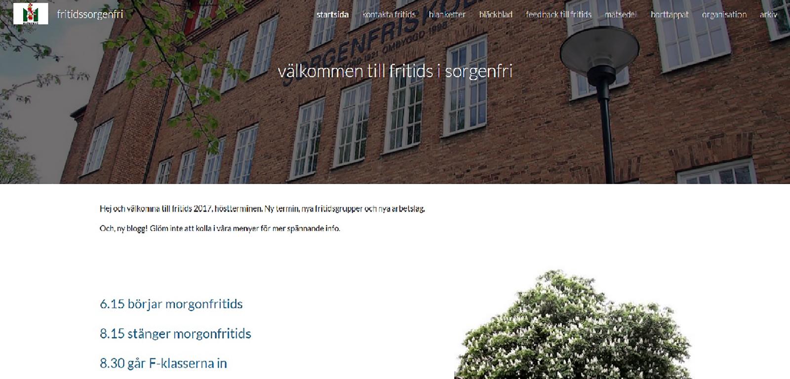 Skärmbild av fritidsbloggen.