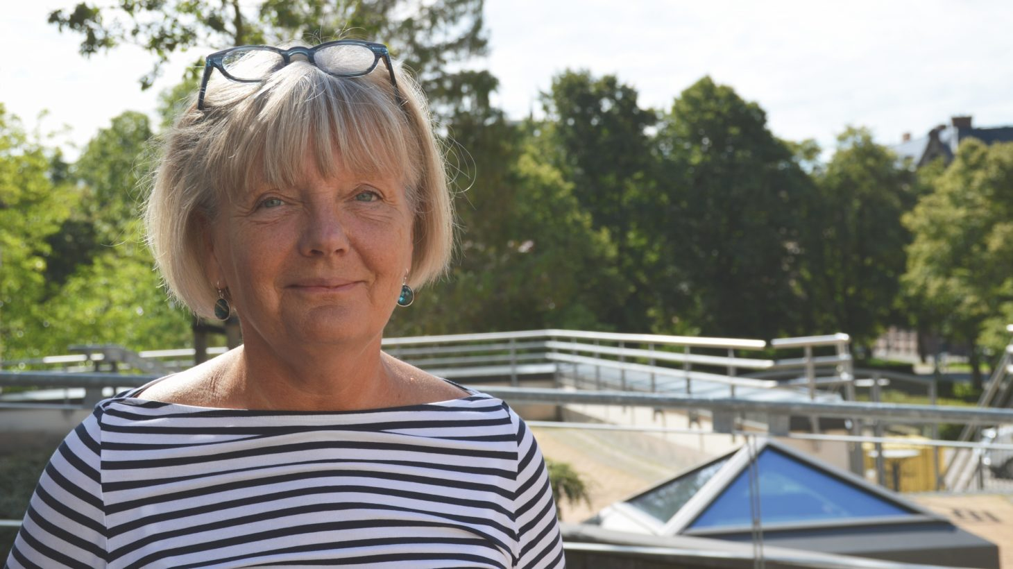 Maria Jarlsdotter på Malmö Latinskolas tak.