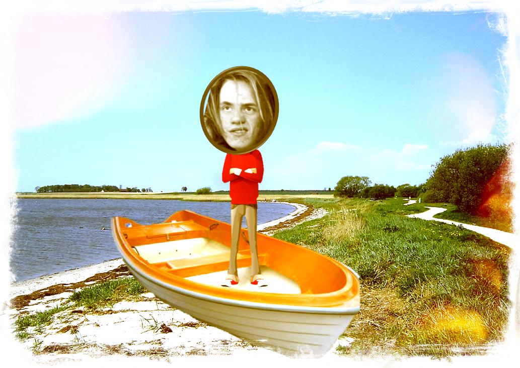 Man står i båt.