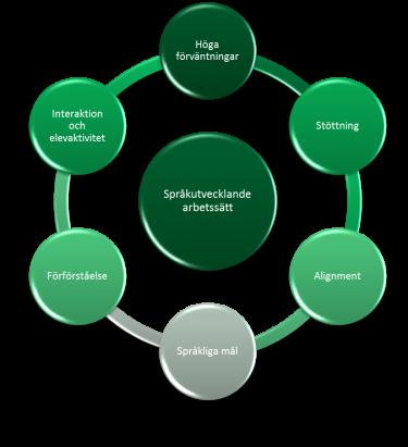 Cirklar som är sammankopplade visar språkutvecklande arbete.