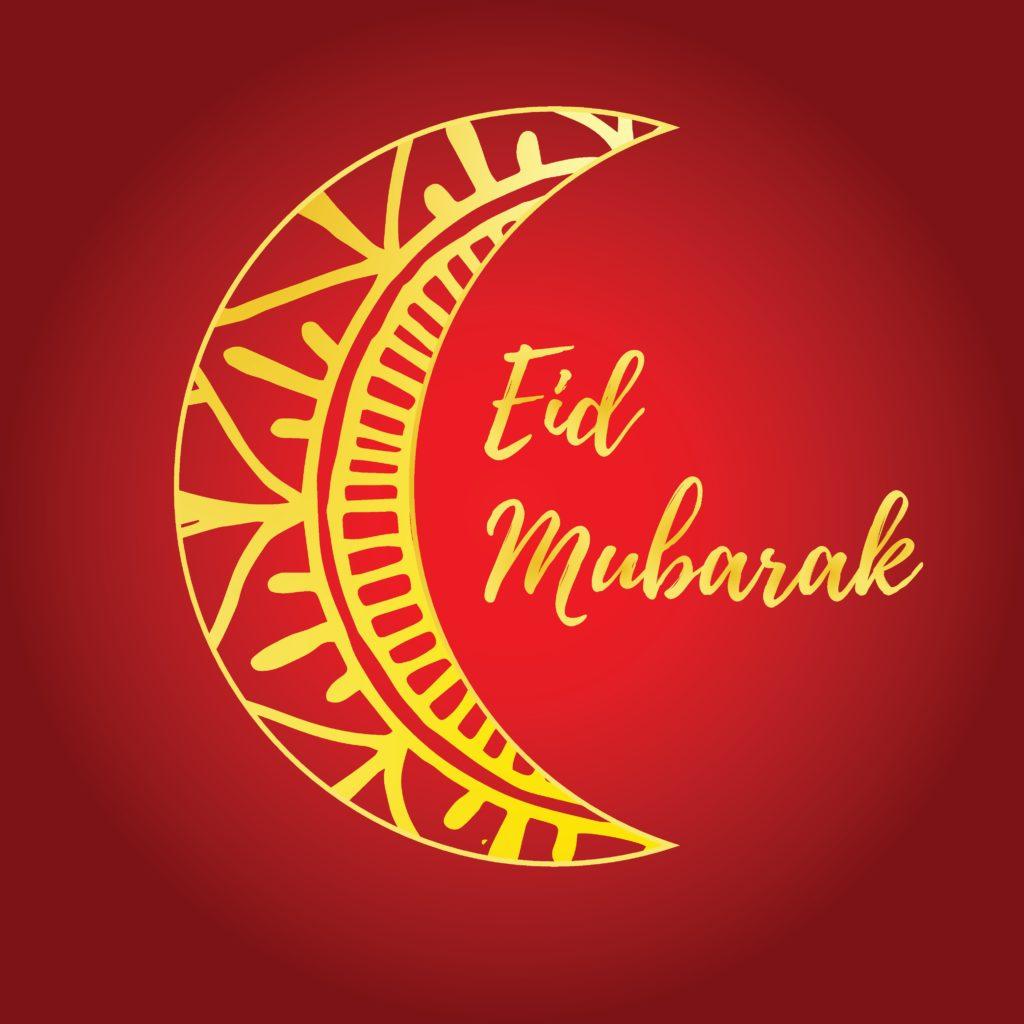Halvmåne där det står Eid Mubarak.