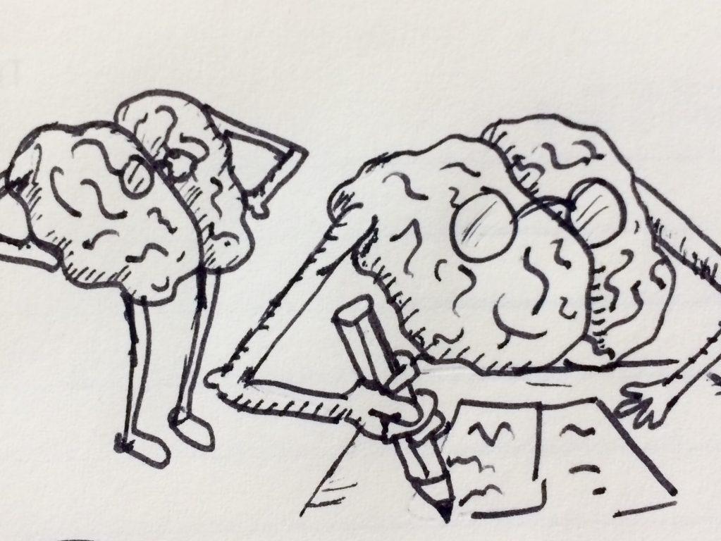 Två tecknade hjärnor där en ena skriver.